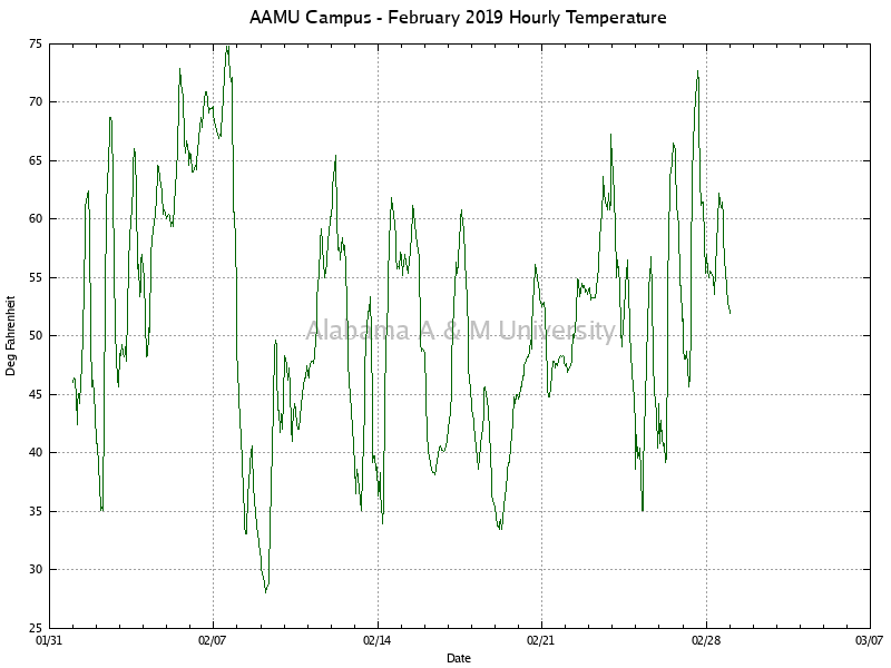 AAMU Campus: Hourly Temperature February, 2019