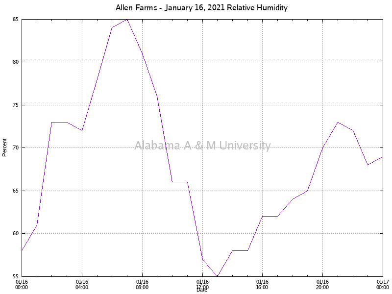 Allen Farms: Relative Humidity January 16, 2021