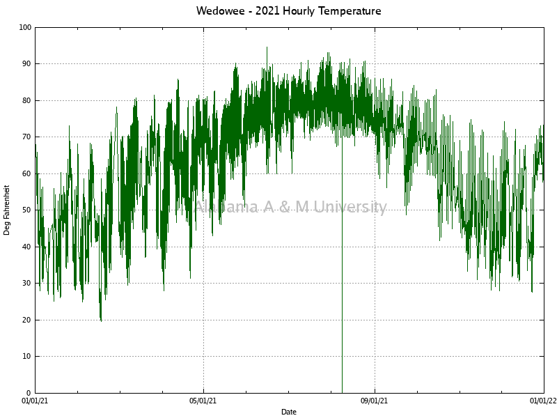 Wedowee: Hourly Temperature 2021