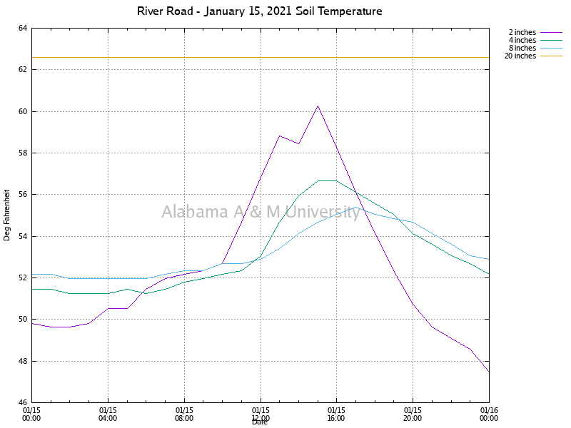 River Road: Soil Temperature January 15, 2021