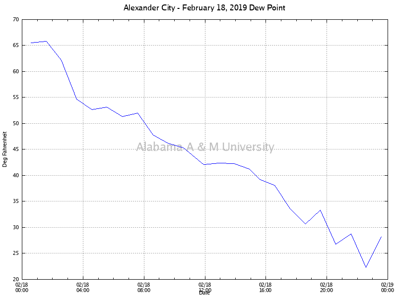 Alexander City: Dew Point February 18, 2019