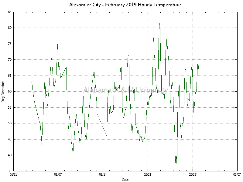Alexander City: Hourly Temperature February, 2019
