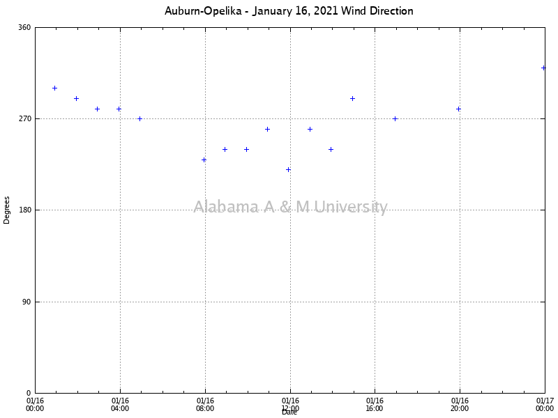 Auburn-Opelika: Wind Direction January 16, 2021