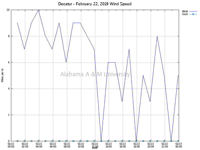 Decatur: Wind Speed February 22, 2019