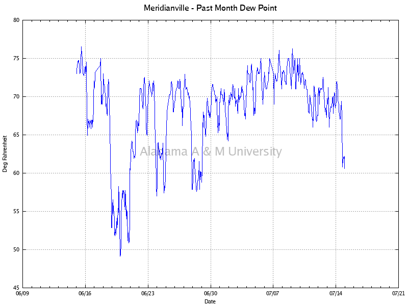 Meridianville: Dew Point Past Month