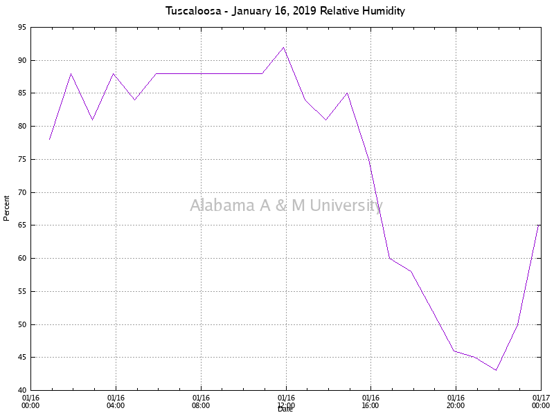 Tuscaloosa: Relative Humidity January 16, 2019