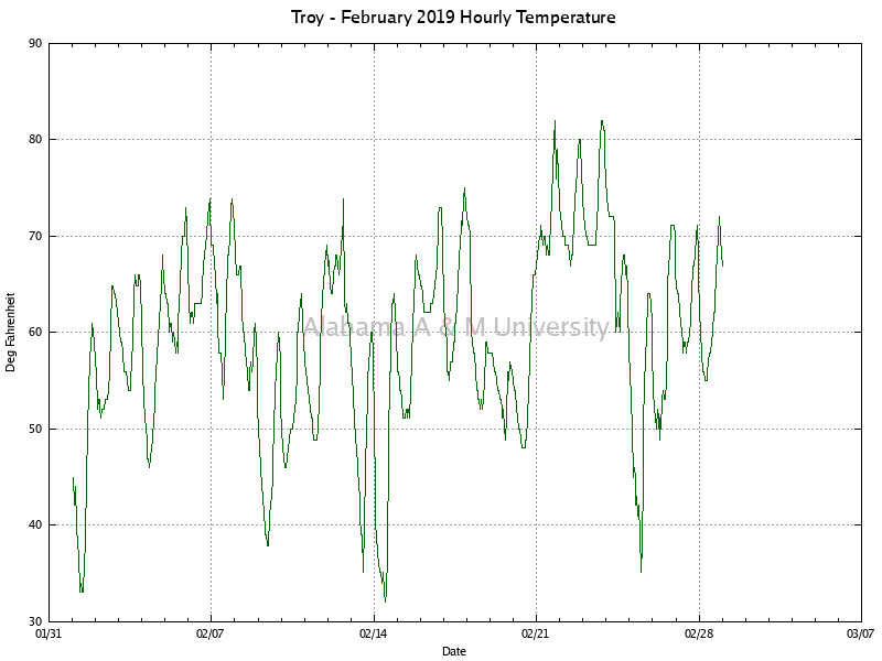 Troy: Hourly Temperature February, 2019