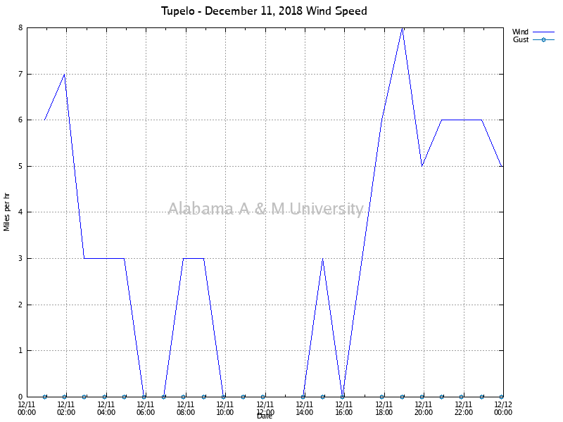 Tupelo: Wind Speed December 11, 2018
